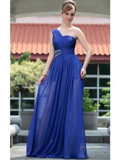 Blue One-Shoulder Beaded Pleated Proms Gowns Evening Dress - Merpher.L