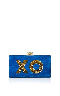 Customizable Jean Clutch In Blue Pearlescent With Gold Confetti Type by Edie Parker for Preorder on Moda Operandi
