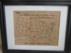 Mother's Day gift / present - Burlap Print for Mother or Grandma Map with hearts in locations personalized, custom-made gift on Etsy, $25.00