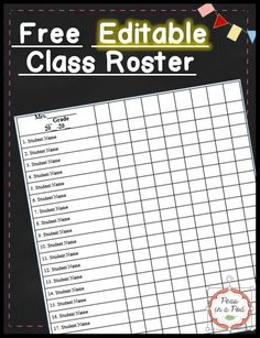 Class List Template - Here's a FREE editable class roster in Word. I use mine for progress monitoring, as a grade book, field trip permission slip check off, etc. Teacher Grade Book, Teaching 5th Grade, Teaching Plan, 3rd Grade Classroom, Free Teaching Resources, Teacher Tools, Teaching Ideas, Classroom Ideas, Classroom Organization