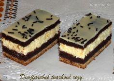 Dvojfarebné tvarohové rezy (fotorecept) - recept | Varecha.sk Baking Recipes, Cake Recipes, Kolaci I Torte, Czech Recipes, Oreo Cupcakes, Sweet Desserts, Desert Recipes, Cake Decorating, Cheesecake