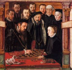 Duke Albrecht V. of Bavaria and his wife Anna of Austria playing chess
