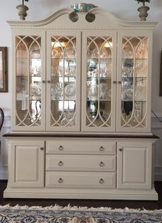 china cabinet Before amp; After: Cabinet Refresh Refinished China Cabinet, China Cabinet Makeovers, Painted China Cabinets, Repurposed China Cabinet, Dresser Makeovers, Shabby Chic Interiors, Shabby Chic Furniture, Shabby Chic Decor, Refurbished Furniture