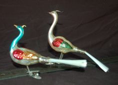 Set of Two Mercury Glass Peacock Clip On Tree by TwoChicksFinds, $25.00