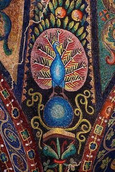 Peacock Mosaic at San Vitale Bascilica in Ravenna, Italy. Look at those vibrant colors!