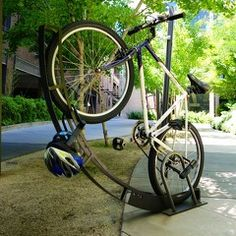 Silicon Valley bicycle parking by Bike Arc. Vertical Bike Rack, Bicycle Rack, Bike Parking, Cool Bikes, Cool Pictures, Photo Galleries, Gallery, Home, Sidewalks
