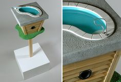 great birdhouse with rooftop pool