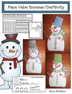 Place Value activities: Petey, the adorable place value snowman craft. Super-fun way to practice place value.  Includes a worksheet, as well as blank template. Children decorate their snowman with a variety of place value pieces then figure out the value. So cute! Great January bulletin board too.