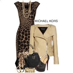 Animal Print by Michael Kors by signature featuring Michael Kors, Christian Louboutin, Coach, Forever Ashley Pittman and Dorothy Perkins Komplette Outfits, Classy Outfits, Stylish Outfits, Fall Outfits, Fashion Outfits, Womens Fashion, Fashion Trends, Cheap Fashion, Fashion Ideas