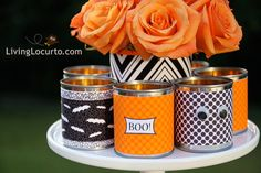 Easy #Halloween DIY vases and candle holders.
