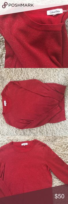 PRICE ⬇️ Calvin Klein Red & Gold Holiday Sweater Size S. Calvin Klein Red Sweater w/ gold flecks. Worn twice. Has a little run on the front. Barely noticeable. Long sleeve. Has gold flecks in the fabric. PERFECT for holiday parties. OFFERS WELCOMED. Calvin Klein Sweaters Crew & Scoop Necks