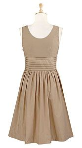 banded waist cotton poplin dress - beige brown
