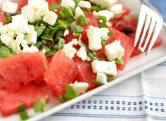 End of Summer Salad Recipe end of the summer Love this sweet & salty combo – perfect way to close the season! Healthy Eating Recipes, Healthy Foods To Eat, Healthy Cooking, Healthy Snacks, Cooking Recipes, Summer Salad Recipes, Summer Salads, Watermelon And Feta, Grilled Fruit
