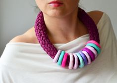 Mauve Necklace Big Necklace Colorful Necklace  Fiber by IKKX, €42.00