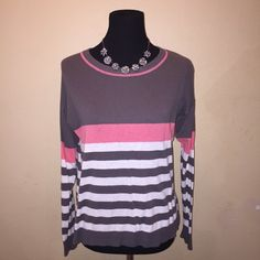 Stripped Sweater Grey, White and Pink stripped sweater, barely worn so in great condition Sweaters Crew & Scoop Necks