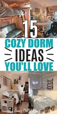 15 dorm room ideas that'll make your small space so cozy! Get inspired to put together a cute college room.
