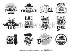 Happy fathers day set. Vector typography. Vintage lettering for greeting cards…