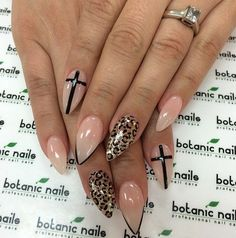 Stiletto nails-cross and leopard nail art Pointy Nails, Stiletto Nail Art, French Stiletto Nails, Cross Nail Designs, Nail Art Designs, Leopard Nail Designs, Cross Nails, Cross Nail Art, Manicure Gel