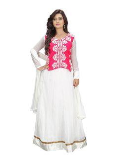 White Designer Georgette Fancy Anarkali Salwar Suit 7 Days Easy Return,Buy Designer suit,Embroidery salwar suit, Party Wear suit, ...
