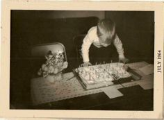 Antique Vintage Photograph Cute Little Boy Blowing Out Candles on Birthday Cake