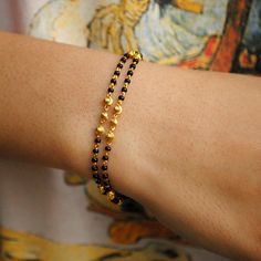 18K Gold Bracelet - Layered Bracelet - Fine Gold Bracelet - Chain Bracelet - Flexible Chain Bracelet Layered gold chain bracelet with black beads and gold balls, handcrafted with love and care, this is a very comfortable bracelet. A perfect accessory for everyday wear. Lightweight and