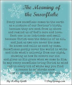 A poem on the meaning of the snowflake. May your Christmas be white and wonderful! via holleygerth.com #CoffeeForYourHeart