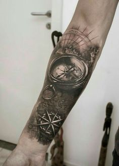 Awesome compass tattoo designs on getting tattooed while traveling forearm tattoos Map Tattoos, Neue Tattoos, Forearm Tattoos, Body Art Tattoos, Tatoos, Tattoo Ink, Compass Rose Tattoo, Compass Tattoo Design, Nautical Compass Tattoo