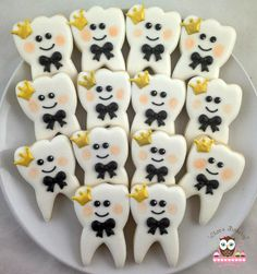 teeth cookies, dentist cookies, crown cookies