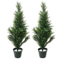 3' Romano Outdoor/Indoor Topiary Cedar Trees, Set of 2, Green