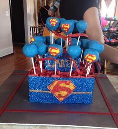 Made this superman themed cake pop arrangement for my friends little boys 1st birthday party!