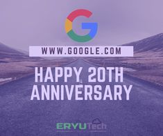 Happy 20th Anniversary GOOGLE!  #ERYUTech www.eryutech.com www.facebook.com/eryutech 20th Anniversary, Infographics, Facebook, Logos, Google, Happy, 20th Birthday, Infographic, Logo