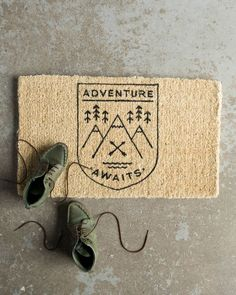 The Danica Studio Adventure Awaits Doormat adds a touch of practical décor to your apartment, condo or home entry. Fire Flower, Slurpee, Welcome Mats, Adventure Awaits, Definitions, Cool Stuff, Stuff To Buy, Studio, Doormat