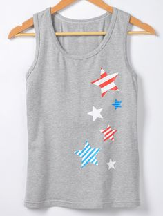$7.24 Chic Star Print Round Neck Sleeveless Tank Top For Women