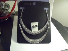 Necklace Statment Silver Tone with Rhinestones & Silver Tone Earrings for Pierce | eBay