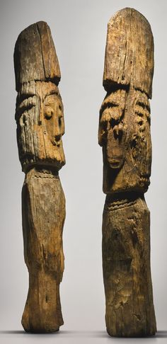 KonsoMale and Female Pair of Funerary Figures, Ethiopia | lot | Sotheby's