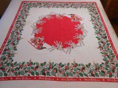 "Vintage Santa Reindeer Merry Christmas 50's Tablecloth 46"" x 47"" | eBay"