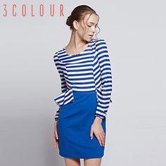 Trei culori 2015 primăvară nouă vânt bleumarin retro lovit banda de culoare simplu false două doamne rochie cu mâneci lungi
