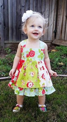 Baby Mia's Reverse Knot Twirly Dress PDF Pattern size newborn to mos. Sewing Kids Clothes, Sewing For Kids, Baby Sewing, Sew Baby, Kids Clothing, Clothing Ideas, Little Dresses, Flower Girl Dresses, Baby Dresses