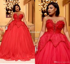 Sexy Red Plus Size Evening Dresses Sweetheart Neckline Pearls Ball Gown Tulle…