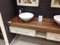 Dessus de vanit en bois de grange cr ation rustik bois for Hauteur comptoir salle de bain