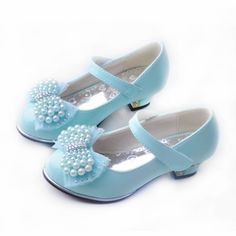 Blue Beaded High Heel Flower Girl Girls Pageant Party Dress Shoes SKU-133462