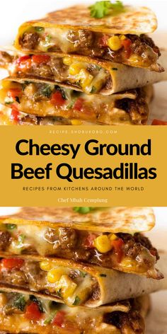 Looking for first-rate Cheesy Ground Beef Quesadillas? You've come to the proper region! Well pro floor red meat, plenty of ooey gooey cheese and a crispy golden brown exterior make these quesadillas virtually irresistible! They're certain to emerge as a fave in your home as they may be in ours. #recipes, #foodrecipes, #easyrecipes, #simplerecipes, #quickrecipes, #cheaprecipes, #goodrecipes, #bestrecipes, #latestrecipes, #newrecipes, #recipesideas, #simplefoodrecipes, #cookingrecipes Banana Recipes Easy, Easy Asparagus Recipes, Easy Delicious Recipes, Easy Appetizer Recipes, Delicious Food, Easy Recipes, Snack Recipes, Easy Meals, Appetizers