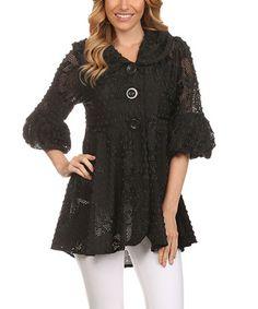 Black Lace Pleated A-Line Jacket #zulily #zulilyfinds