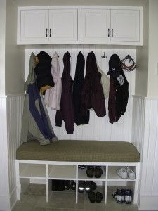 Use this mud room idea in the hall closet