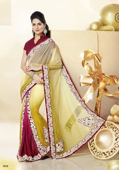 Khazanakart Heavy Embroidery Net,Faux Georgette And Satin Saree