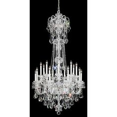Olde World Silver 23-Light Crystal Swarovski Elements Chandelier, 36W x 68H x 36D