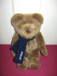 Ralph Lauren Retired NICE Soft Fuzzy Plush Polo Bear wearing Blue Knitted Scarf