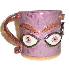 Eye Coffee Cup 27  Pink Ceramic Slab Mug With by aberrantceramics