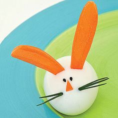 Hoppy Hare (hard-boiled egg with carrot ears and chive whiskers) from FamilyFun magazine.