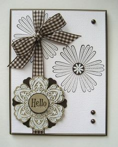 "handmade card ... black and white ... like the way these flowers are placed ... gingham ribbon ""hanger""  ... Stampin' Up!"